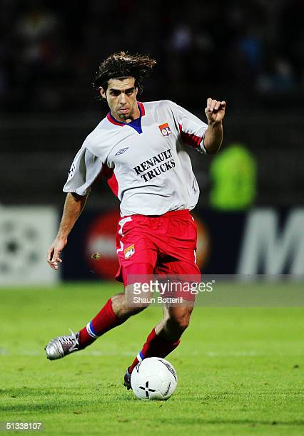 Juninho of Lyon in action during the UEFA Champions League Group D match between Olympique Lyonnais and Manchester United at the Municipal de Garland...