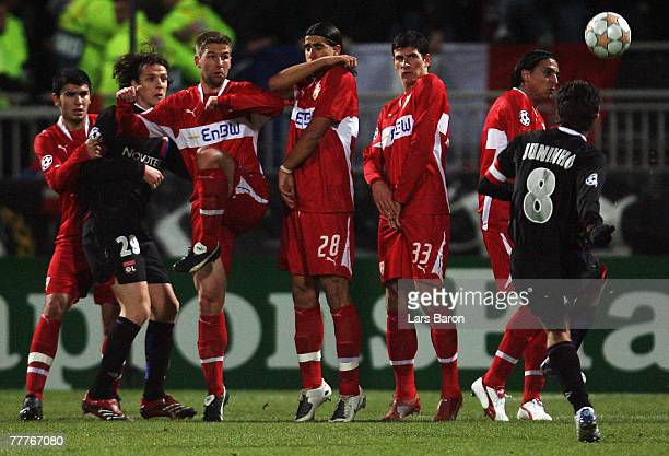 Juninho of Lyon shoots a free kick during the UEFA Champions League Group E match between Olympique Lyon and VfB Stuttgart at the Gerland Stadium on...