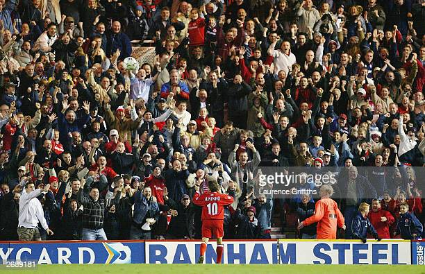 Juninho of Middlesbrough celebrates his goal in front of the home fans during the FA Barclaycard Premiership game between Middlesbrough and...