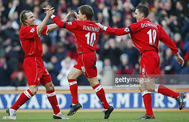 Juninho of Middlesbrough celebrates scoring the opening goal during the FA Barclaycard Premiership match between Middlesbrough and Leicester City at...