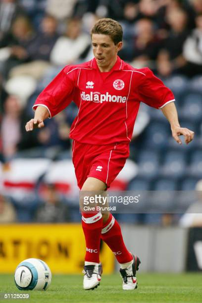 Juninho of Middlesbrough in action during the friendly match between Preston North End and Middlesbrough at Deepdale on July 24, 2004 in Preston,...