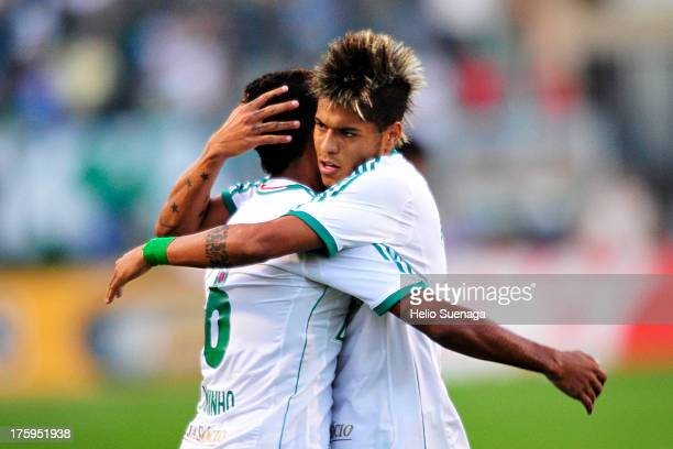 Juninho of Palmeiras celebrates a goal during a match between Palmeiras and Parana as part of the Brazilian Championship Serie B 2013 at Pacaembu...