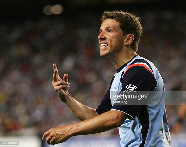 Juninho of Sydney FC argues with the sideline official during the ALeague Minor Semi Final match between Sydney FC and Queensland Roar at the Sydney...