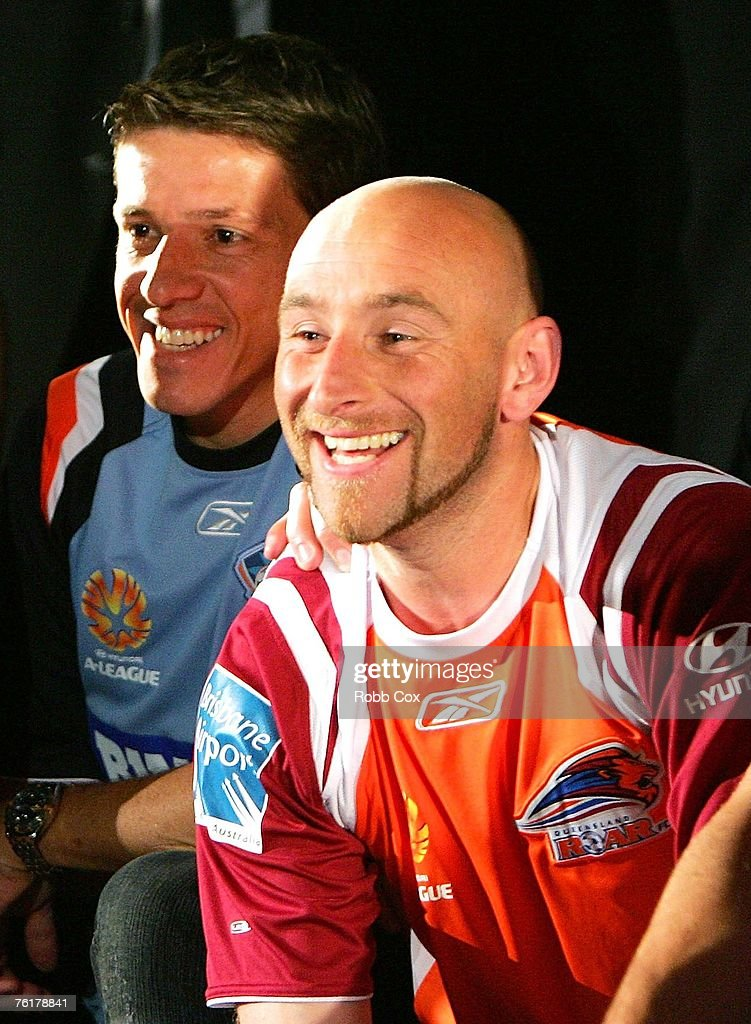 Juninho of Sydney FC poses with Danny Tiatto of the Queensland Roar during the 2007/2008 A-League Season Launch at The Entertainment Quarter on August 20, 2007 in Sydney, Australia.
