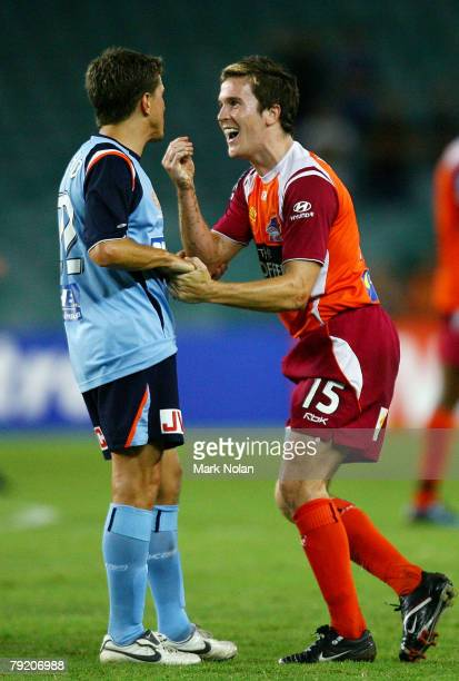 Juninho of Sydney has words with Matthew McKay of the Roar after a tackle by Juninho during the ALeague Minor Semi Final match between Sydney FC and...