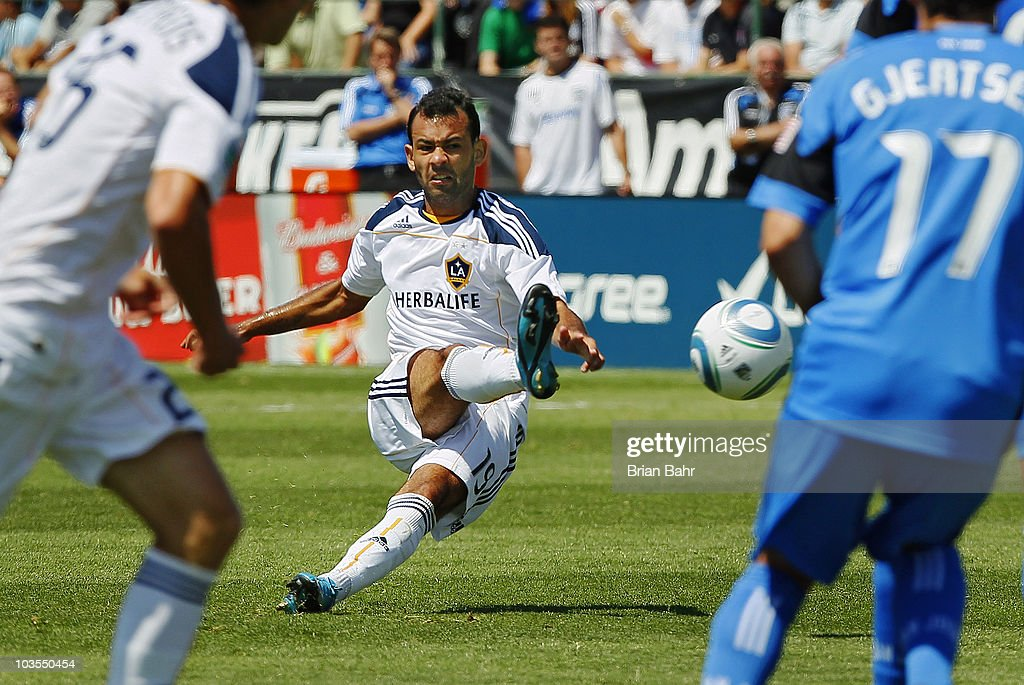 Juninho #19 of the Los Angeles Galaxy takes a shot against the San Jose Earthquakes on August 21, 2010 at Buck Shaw Stadium in Santa Clara, California. The Earthquakes won 1-0.