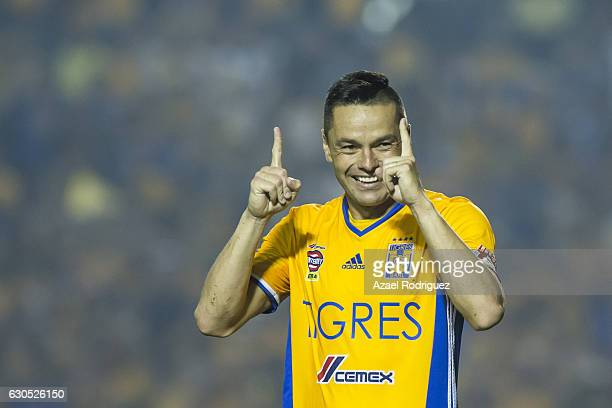 Juninho of Tigres celebrate after scoring his penalty during the Final second leg match between Tigres UANL and America as part of the Torneo...