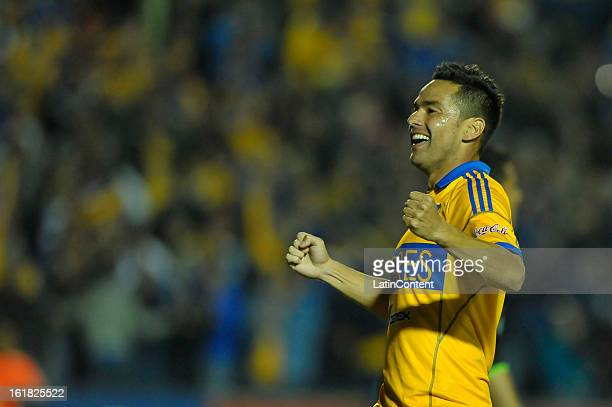 Juninho of Tigres celebrates a goal during a match between Tigres and Santos as part of the 2013 Clausura Liga MX on February 16 2013 in Monterrey...
