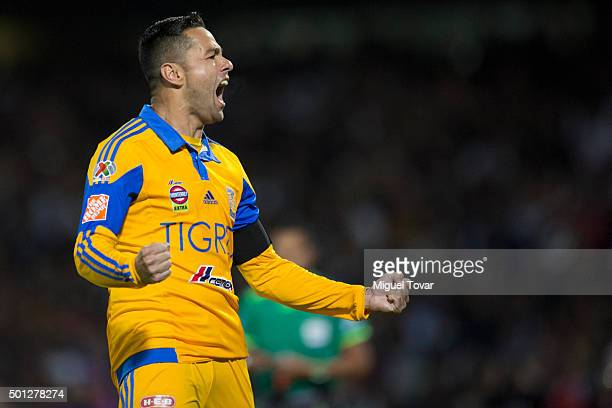 Juninho of Tigres celebrates after scoring the second penalty goal during the final second leg match between Pumas UNAM and Tigres UANL as part of...