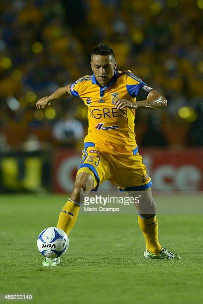 Juninho of Tigres drives the ball during a 9th round match between Tigres UANL and Monterrey as part of the Apertura 2015 Liga MX at Universitario...