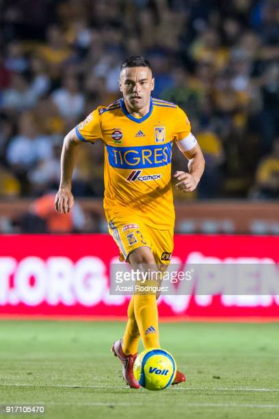 Juninho of Tigres drives the ball during the 6th round match between Tigres UANL and America as part of the Torneo Clausura 2018 Liga MX at...