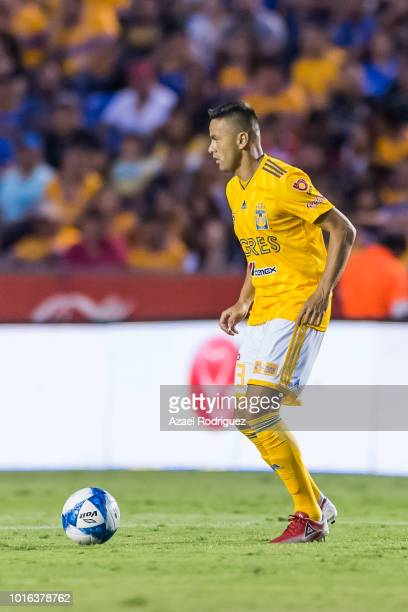 Juninho of Tigres drives the ball during the fourth round match between Tigres UANL and Toluca as part of the Torneo Apertura 2018 Liga MX at...