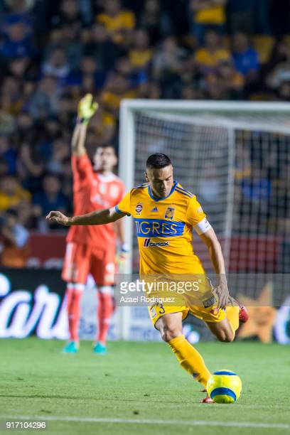 Juninho of Tigres kicks the ball during the 6th round match between Tigres UANL and America as part of the Torneo Clausura 2018 Liga MX at...