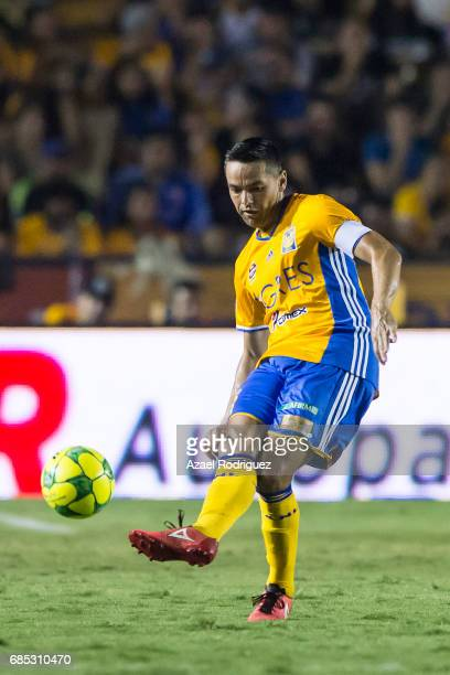 Juninho of Tigres takes a shot during the semi finals first leg match between Tigres UANL and Tijuana as part of the Torneo Clausura 2017 Liga MX...