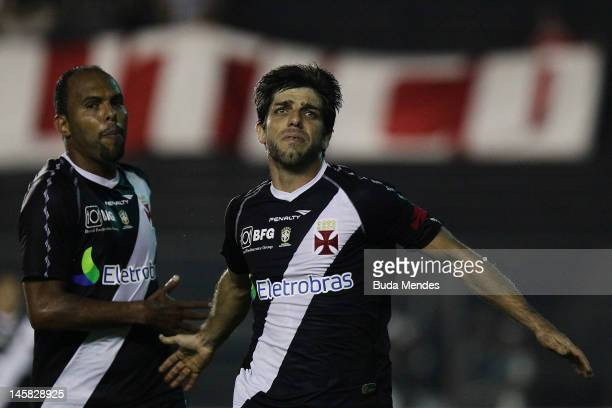 Juninho Pernanbucano of Vasco celebrates a scored goal against Nautico during a match as part of Serie A 2012 at Sao Januario stadium on June 06 2012...
