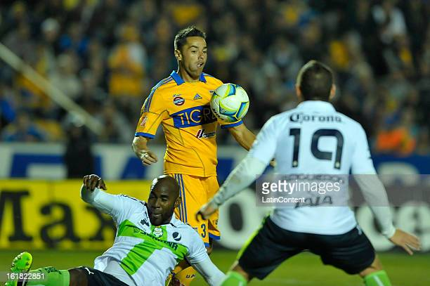 Juninho recieves the ball during a match between Tigres and Santos as part of the 2013 Clausura Liga MX on February 16 2013 in Monterrey Mexico