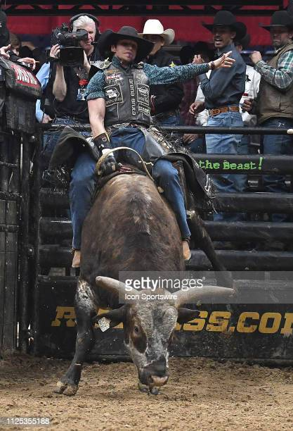 Junio Quaresima rides the bull Total Feeds Bushwacked during the final round of the Professional Bullriders Mason Lowe Memorial on February 16 at...