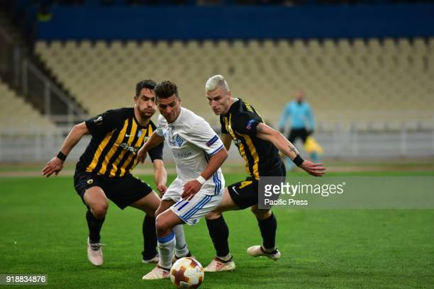 OACA 'SPIROS LOUIS' ATHENS ATTIKI GREECE Junion Moraes of Dynamo Kyiv avoids two players of AEK After an exciting football match AEK and Dynamo Kyiv...