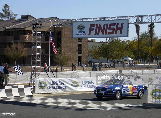 Junior a 2006 Volkswagen Passat Station wagon diesel heavily modified and robotized by a team of Stanford University crosses the finish line in first...