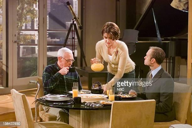 FRASIER Junior Agent Episode 10 Aired 10/27/01 Pictured John Mahoney as Martin Crane Jane Leeves as Daphne Moon David Hyde Pierce as Dr Niles Crane