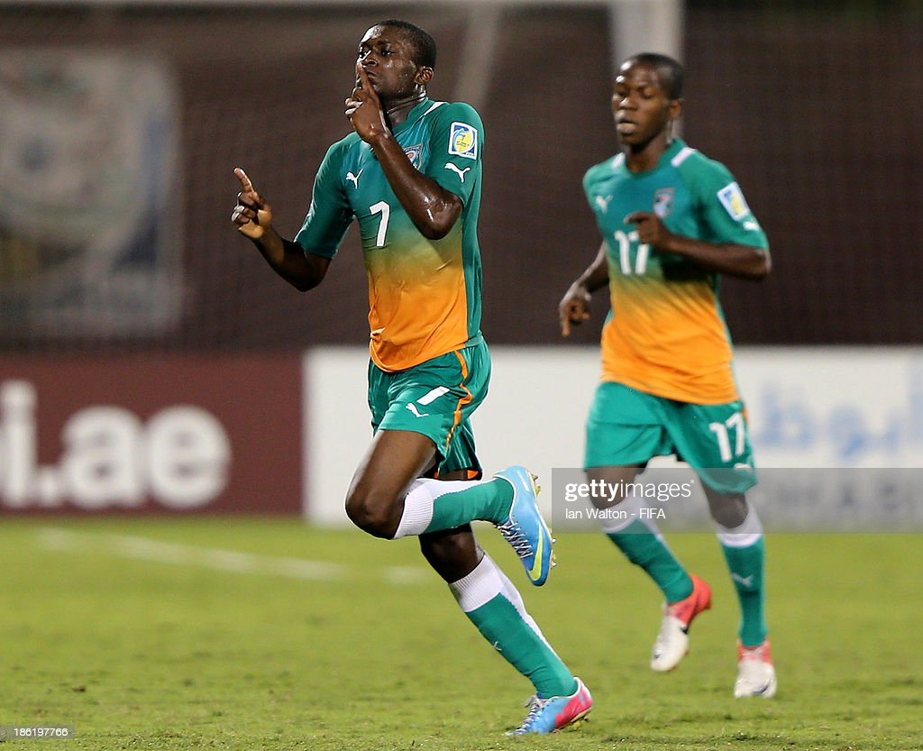 Junior Ahissan of Ivory Coast celebrates after scoring a goal during the Round of 16 match of the FIFA U-17 World Cup between Morocco and Ivory Coast at Fujairah Stadium on October 29, 2013 in Fujairah, United Arab Emirates.