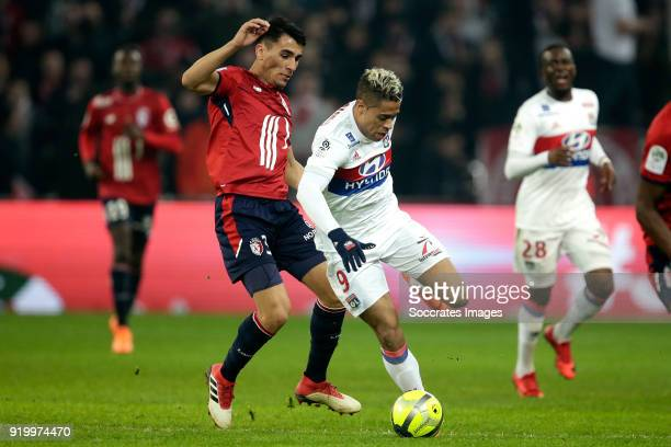 Junior Alonso Mujica of Lille Mariano Diaz of Olympique Lyon during the French League 1 match between Lille v Olympique Lyon at the Stade Pierre...