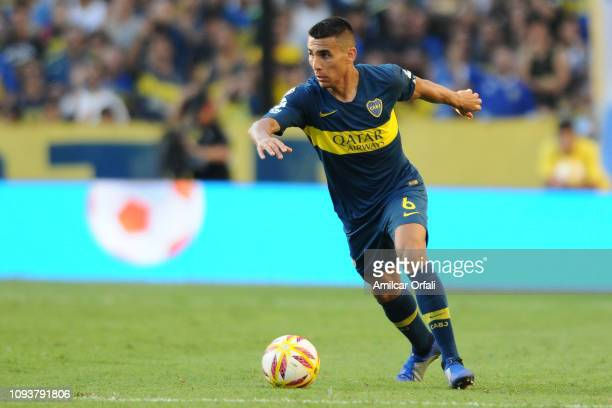 Junior Alonso of Boca Juniors kicks the ball during a match between Boca Juniors and Godoy Cruz as part of Superliga 2018/19 at Estadio Alberto J...