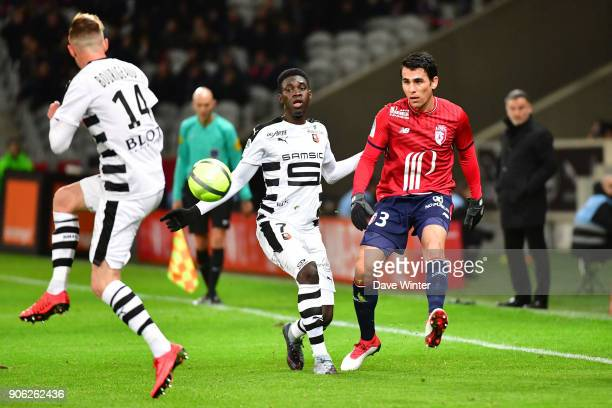 Junior Alonso of Lille and Ismaila Sarr of Rennes during the Ligue 1 match between Lille OSC and Stade Rennais at Stade Pierre Mauroy on January 17...