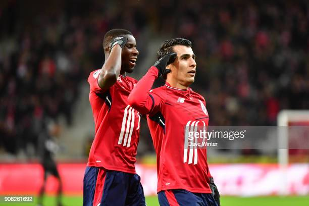 Junior Alonso of Lille celebrates after he heads his side 10 ahead during the Ligue 1 match between Lille OSC and Stade Rennais at Stade Pierre...
