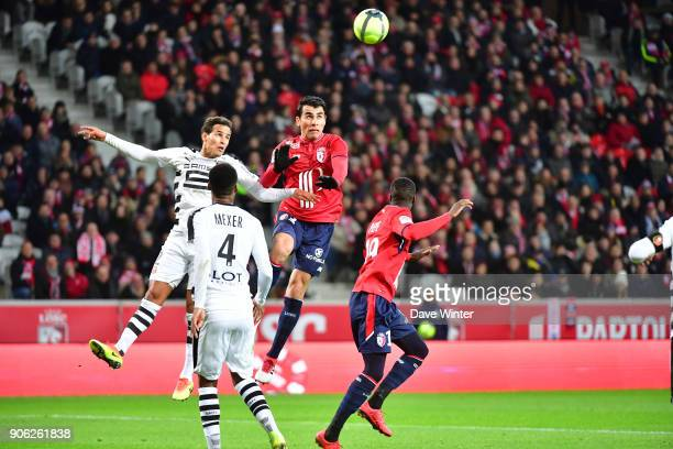Junior Alonso of Lille heads his side 10 ahead during the Ligue 1 match between Lille OSC and Stade Rennais at Stade Pierre Mauroy on January 17 2018...