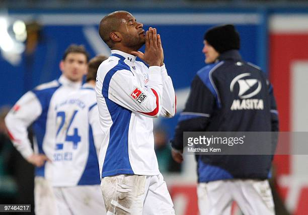 Junior Alves Orestes of Rostock is seen after the Second Bundesliga match between FC Hansa Rostock and RotWeiss Ahlen at the DKB Arena on March 5...