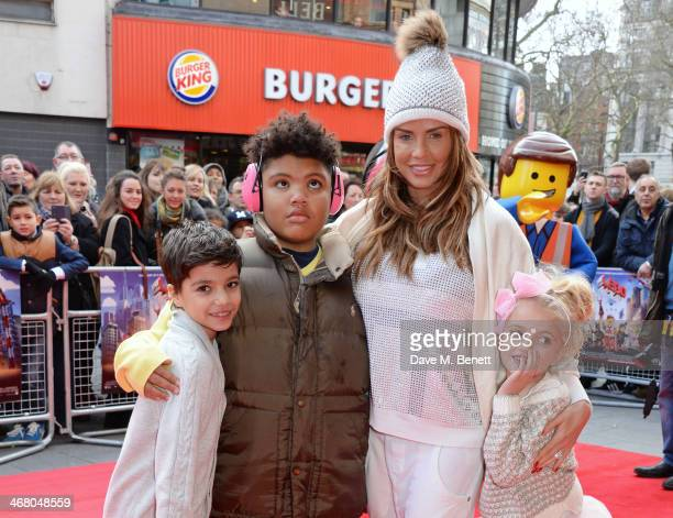 Junior Andre Harvey Price Katie Price and Princess Andre attend a VIP screening of 'The Lego Movie' at the Vue West End on February 9 2014 in London...