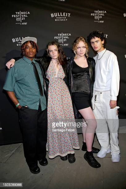 """Junior, Annika Wahlsten, Annabel Hoffman, and Wallace Dos Santos attend the Tribeca Festival After-Party for """"Italian Studies"""" Hosted By BULLEIT..."""