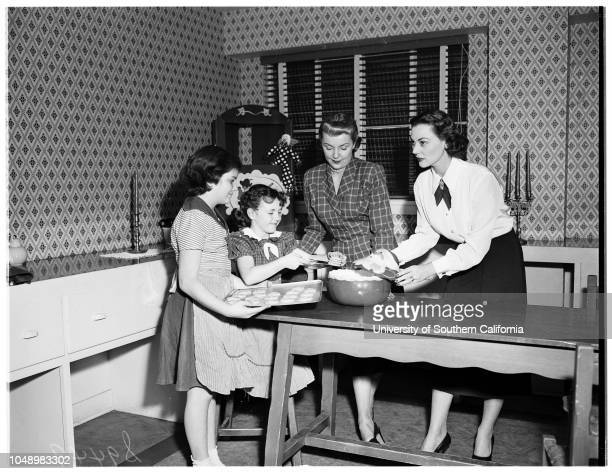 Junior auxiliary members cooking for girls' club of Assistance League party 4 December 1951 Sharyn Jones child member of girls' clubBonnie Scheley...