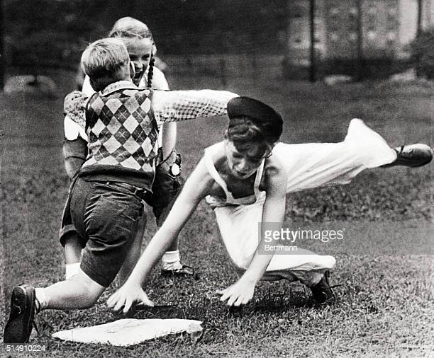 8/2/1946 Junior baseball is not confined strictly to males The girls play too and the boys like it This junior miss is a wideawake base coach...