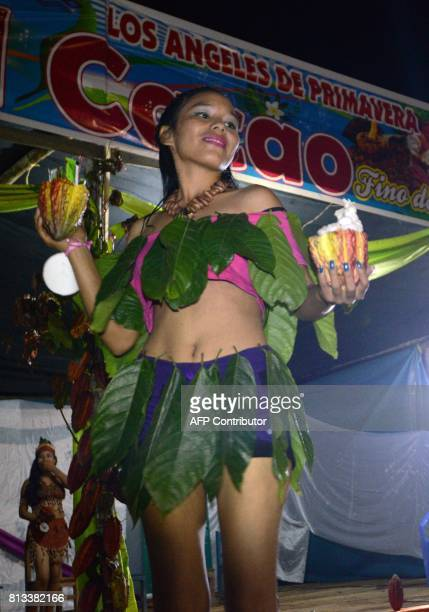 A junior beauty pageant participant performs on stage at the jungle settlement of Los Angeles de Primavera during the Fifth Organic Cocoa Festival on...