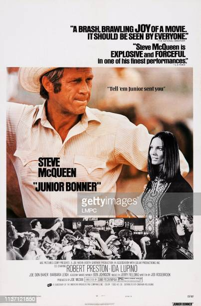 Junior Bonner, poster, US poster art, from left: Steve McQueen, Barbara Leigh, 1972.