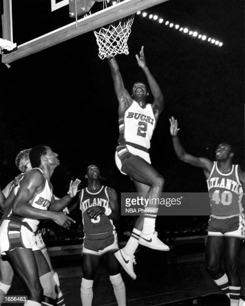 Junior Bridgeman of the Milwaukee Bucks drives to the basket for a layup during the 1981 NBA game against the Atlanta Hawks at The Mecca in Milwaukee...
