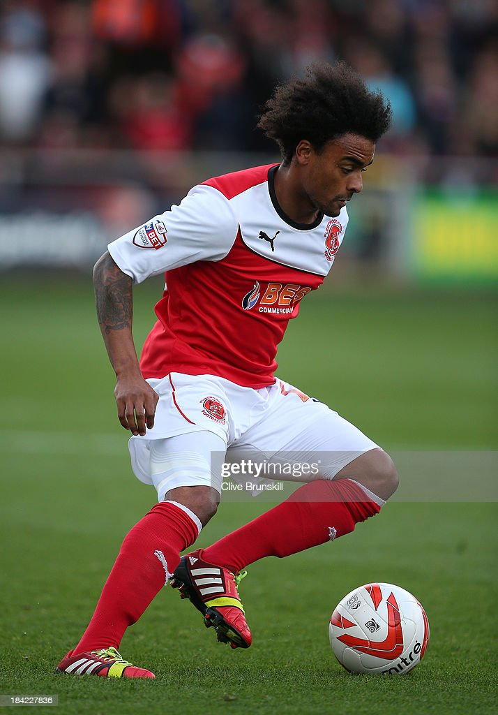 Junior Brown of Fleetwood Town in action during the Sky Bet League Two match between Fleetwood Town and Chesterfield at Highbury Stadium on October 12, 2013 in Fleetwood, England,