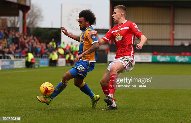 Junior Brown of Shrewsbury Town and Ryan Colclough of Crewe Alexandra during the Sky Bet League One match between Crewe Alexandra and Shrewsbury Town...