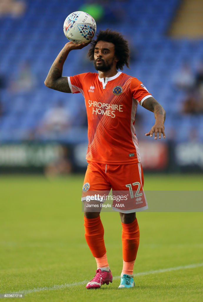 Junior Brown of Shrewsbury Town during the pre-season friendly between Shrewsbury Town and Cardiff City at The Montgomery Waters Meadow on July 25, 2017 in Shrewsbury, England.