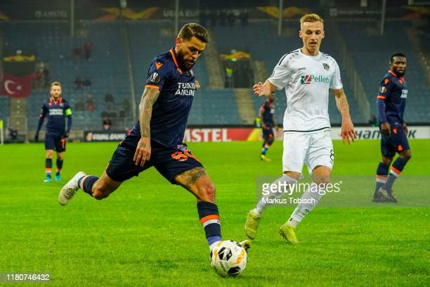 Junior Caicara of Istanbul Basaksehir F.K. And Marcel Ritzmaier of Wolfsberger AC compete for the ball during the UEFA Europa League match between...