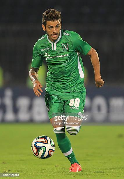 Junior Caicara of Ludogorets Razgrad in action during the UEFA Champions League third qualifying round 2nd leg match between Partizan Belgrade and...