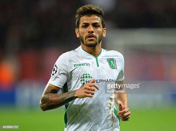 Junior Caicara of PFC Ludogorets Razgrad in action during the UEFA Champions League first leg play-off match against between FC Steaua Bucuresti and...