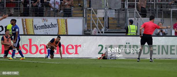 Junior Caicara of Schalke and Mijat Gacinovic of Frankfurt in action during the Bundesliga match between Eintracht Frankfurt and FC Schalke 04 at...