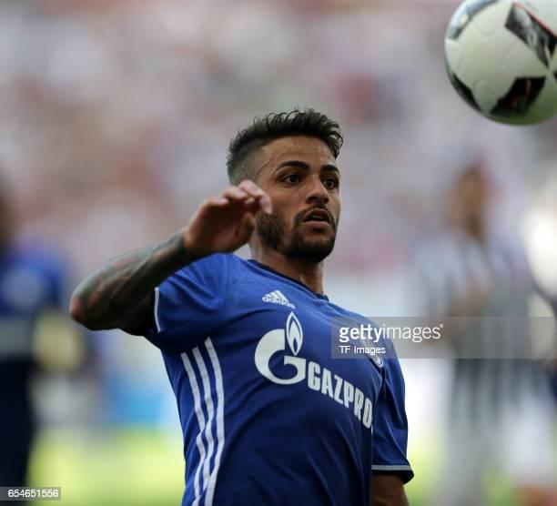 Junior Caicara of Schalke controls the ball during the Bundesliga match between Eintracht Frankfurt and FC Schalke 04 at Commerzbank-Arena on August...