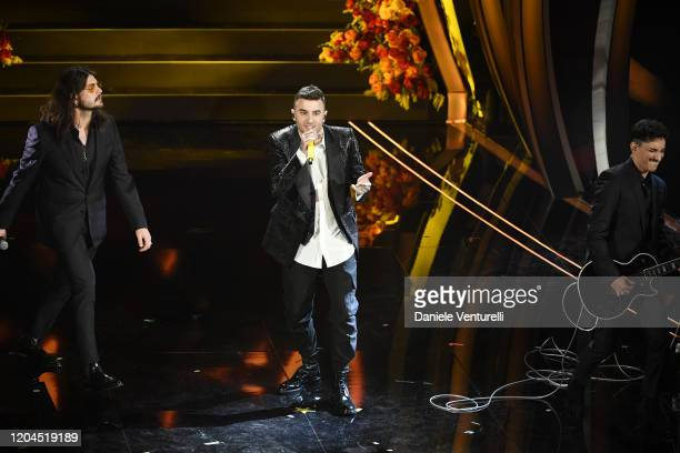 Junior Cally and Viito attend the 70° Festival di Sanremo at Teatro Ariston on February 06 2020 in Sanremo Italy