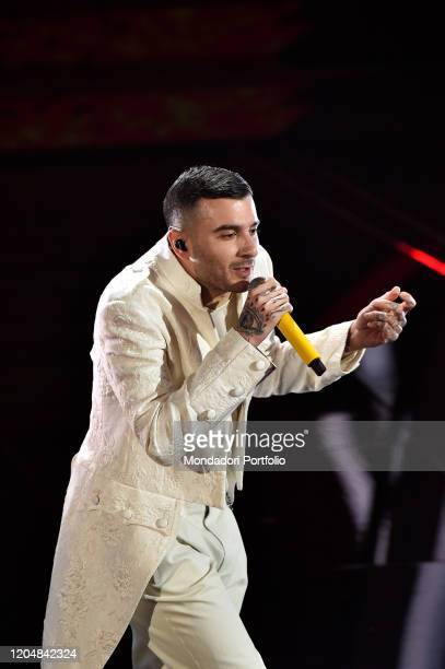 Junior Cally at the fourth evening of the 70th Sanremo Music Festival on February 07 2020 in Sanremo Italy