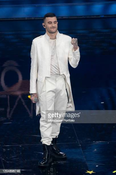 Junior Cally at the fourth evening of the 70th Sanremo Music Festival on February 07, 2020 in Sanremo, Italy.