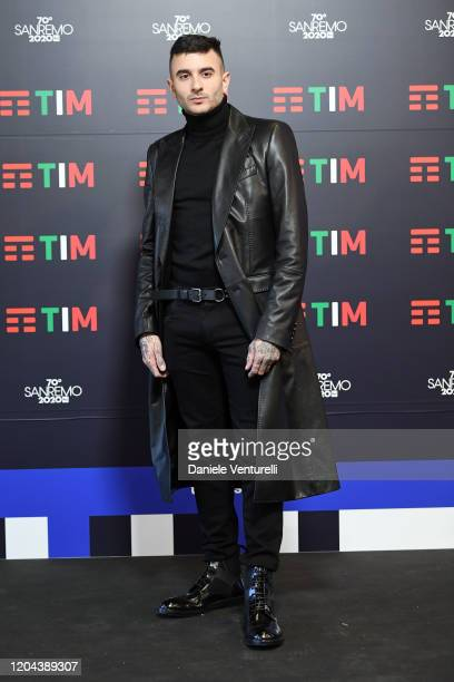 Junior Cally attends a photocall at the 70° Festival di Sanremo at Teatro Ariston on February 06, 2020 in Sanremo, Italy.